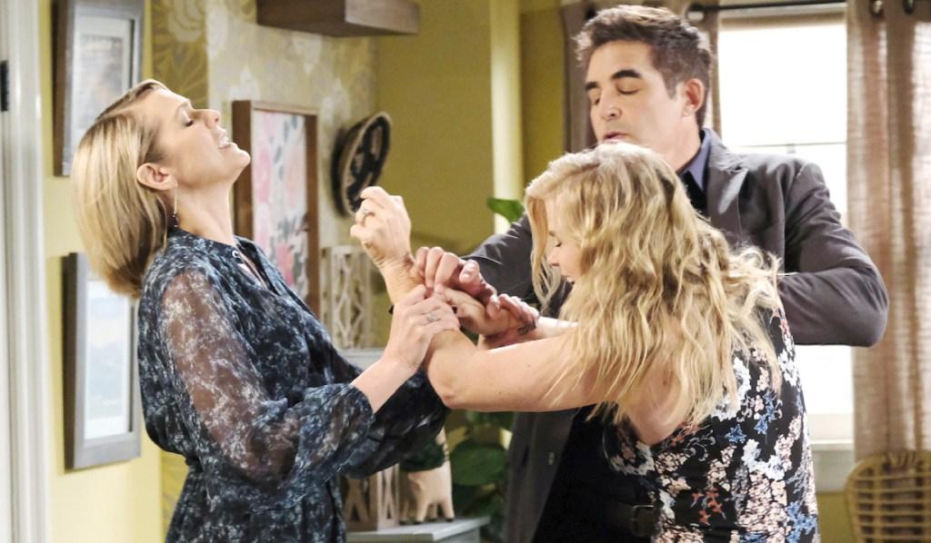 Rafe intervenes when Sami attacks Nicole on Days of Our Lives