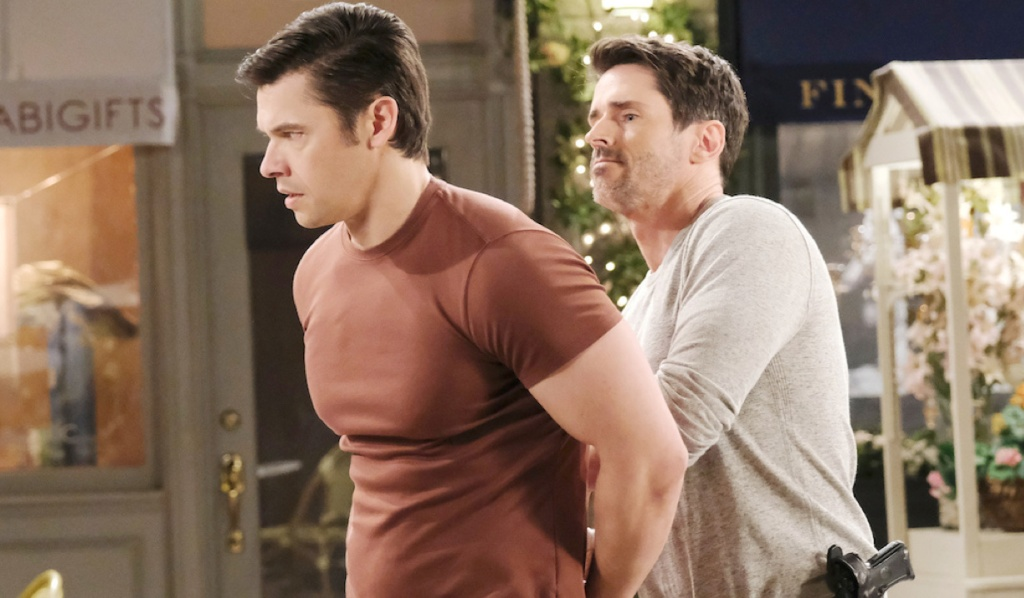 Shawn arrests Xander in Horton Square on Days of Our Lives