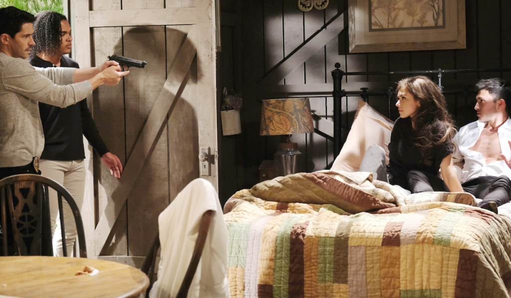 Theo joins Shawn who draws his gun on Ben and Ciara on Days of Our Lives