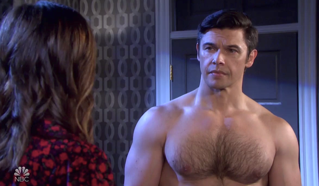 Shirtless Xander talks with Gwen in his hotel room on Days of Our Lives