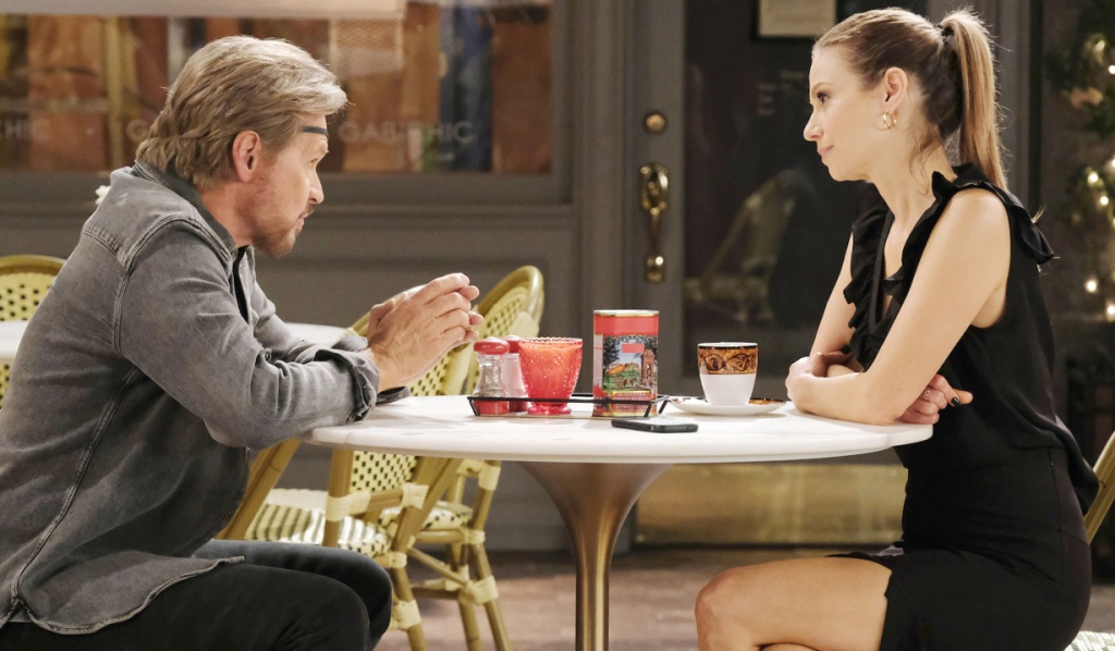 Steve gives Ava advice in Horton Square on Days of Our Lives
