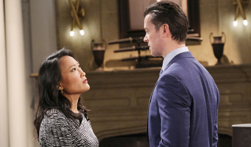 Trask meets with EJ at the mansion on Days of Our Lives