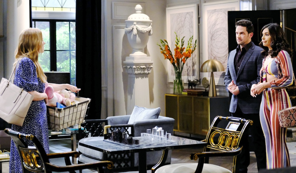Abigail encounters Jake and Gabi at the DiMera mansion on Days of Our Lives