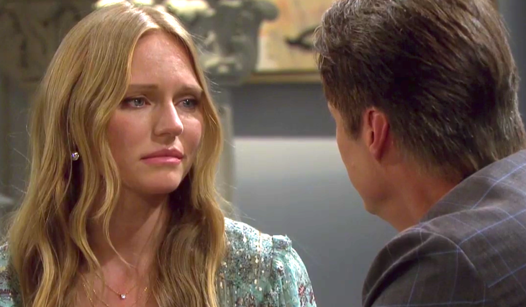 Abigail looks emotional as she talks with Jack at the DiMera mansion on Days of Our Lives