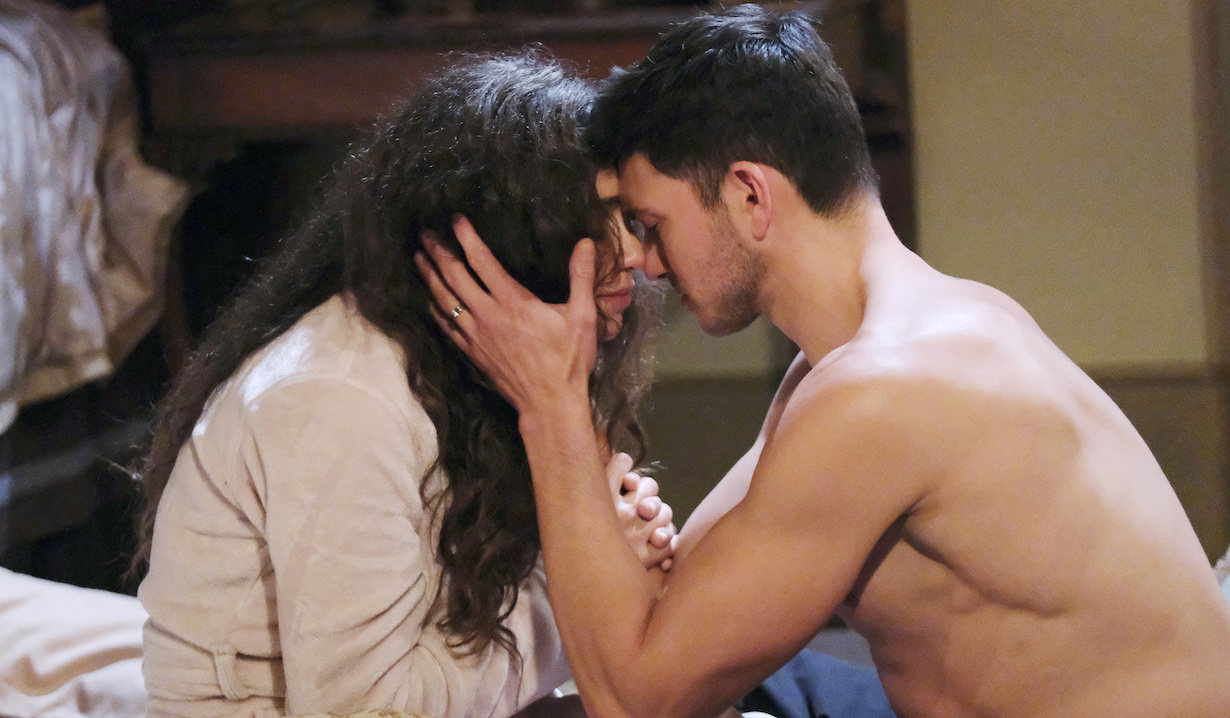 A shirtless Ben presses his forehead agasint Ciara's on Days of Our Lives