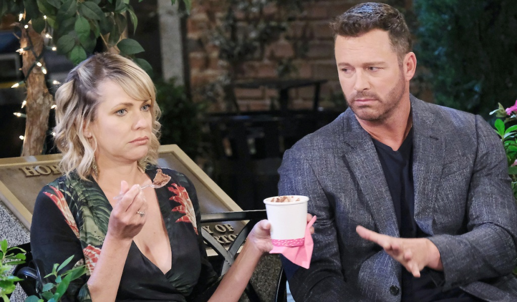 Nicole and Brady commiserate over ice cream in the Square on Days of Our Lives
