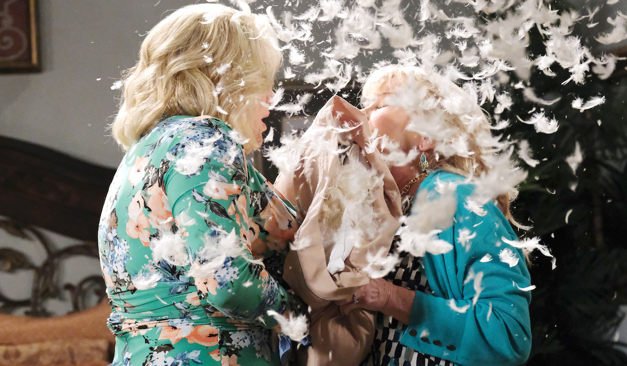 Feathers fly after a gun goes off between Calista and Bonnie on Days of Our Lives
