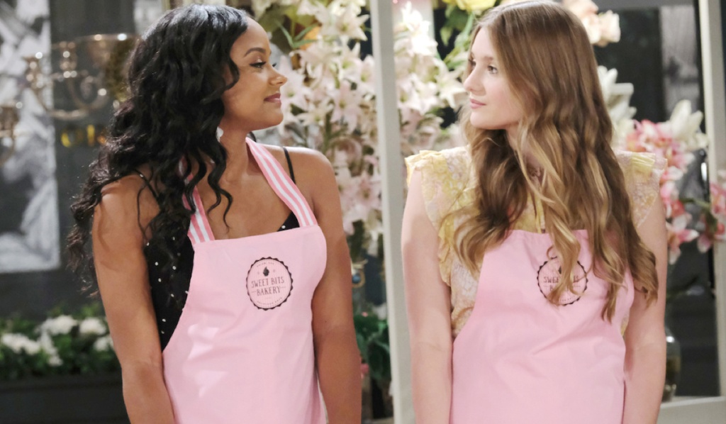 Chanel and Allie share a tense look in Horton Square on Days of Our Lives