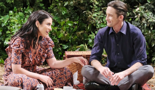 Chloe and Philip enjoy a picnic on Days of Our Lives