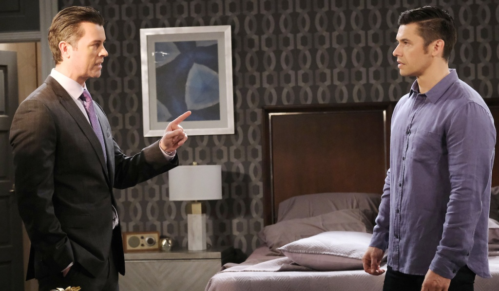EJ confronts Xander at the Salem Inn on Days of Our Lives