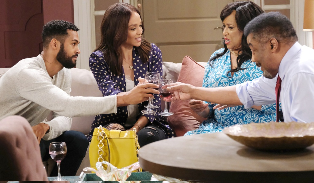 Eli, Lani, Paulina and Abe toast with wine at Paulina's place on Days of Our Lives