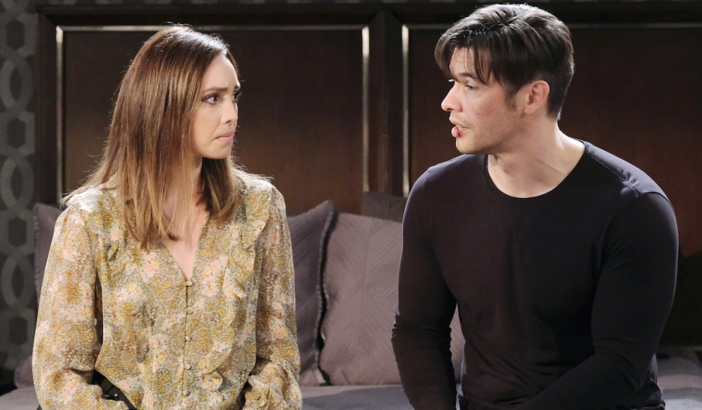 Gwen and Xander talk on his bed at Salem Inn on Days of Our Lives