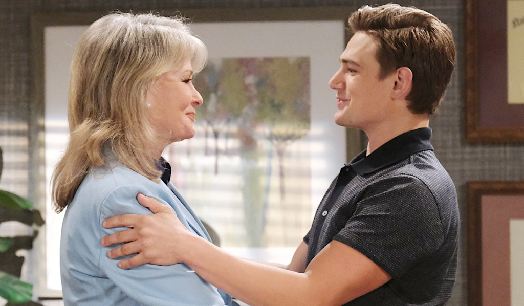Marlena and Johnny visit in her office on Days of Our Lives