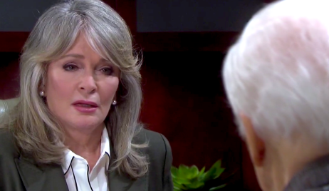 Marlena looks horrified at Doug on Days of Our Lives