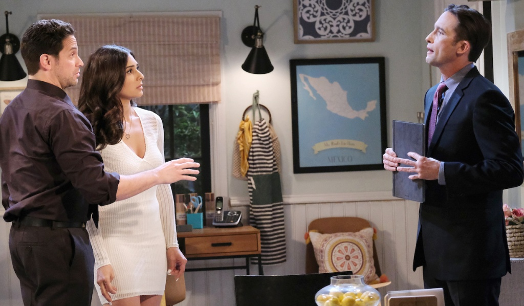 Philip confronts Jake and Gabi at Rafe's house on Days of Our Lives