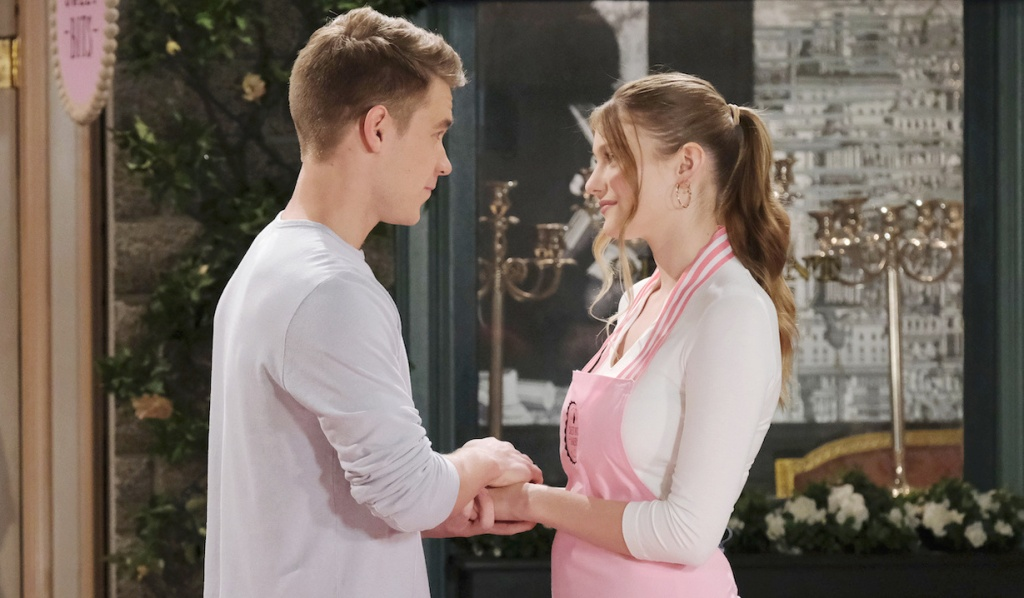 Tripp clasps Allie's hands in Horton Square on Days of Our Lives