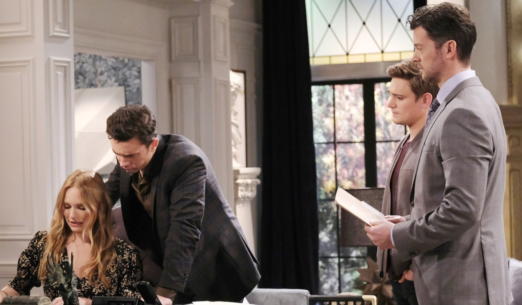 Chad and Abby grimmace while reading their contracts as Johnny watches with concern and EJ stands nearby on Days of Our Lives