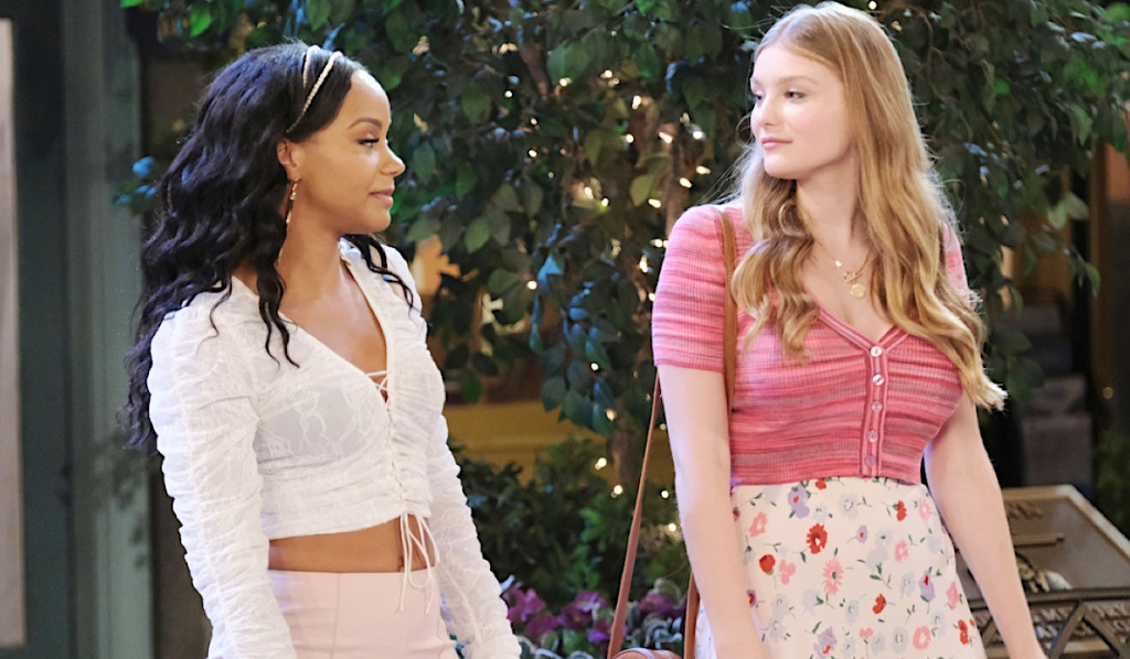 Allie and Chanel share a look in the Square on Days of Our Lives