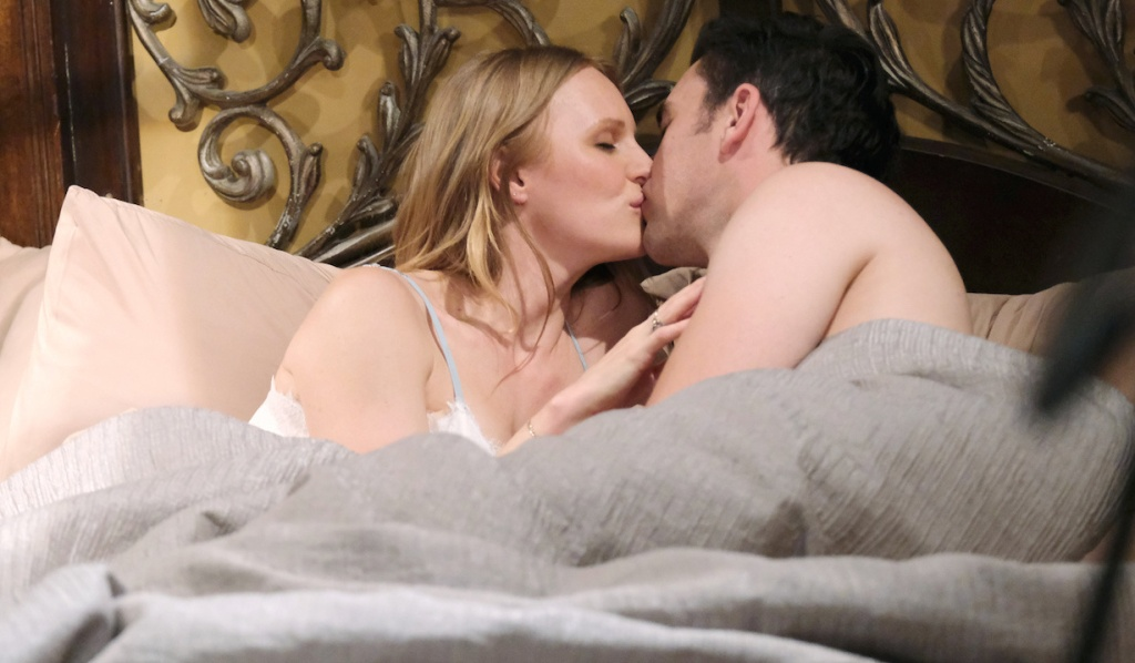 Chad and Abigial kiss while in bed on Days of Our Lives