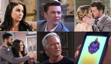 Collage of Chloe looking annoyed, Chad squinting his eyes, EJ kissing Nicole, Eli and Lani toasting, John squinting his eyes, and the devil emoji on Marlena's phone