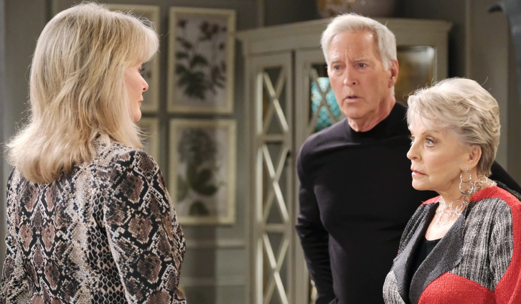 John's and Julie's eyes widen as they face MarDevil on Days of Our Lives