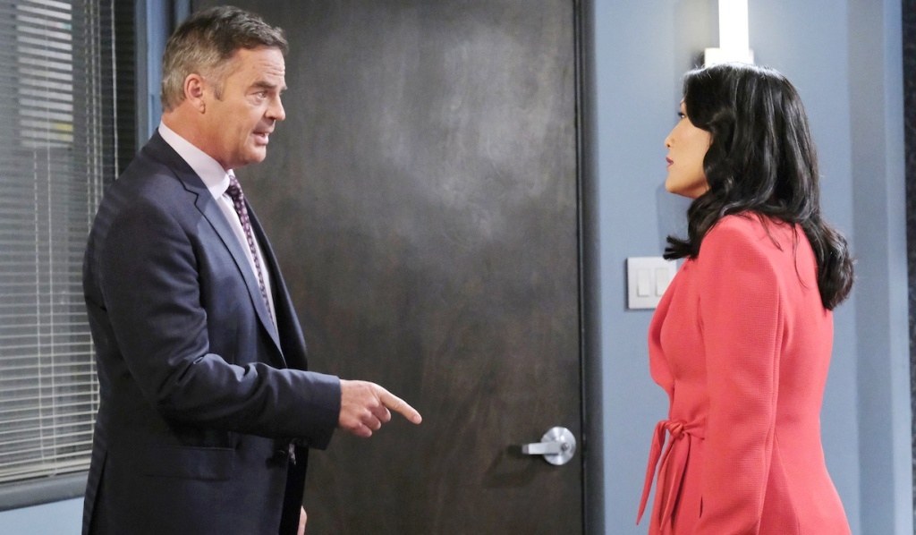 Justin confronts Trask in the interrogation room on Days of Our Lives