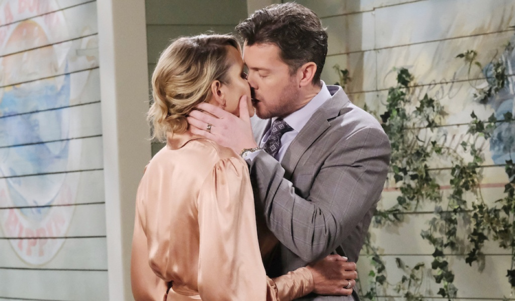 EJ and Nicole kiss outside Brady's Pub on Days of Our Lives
