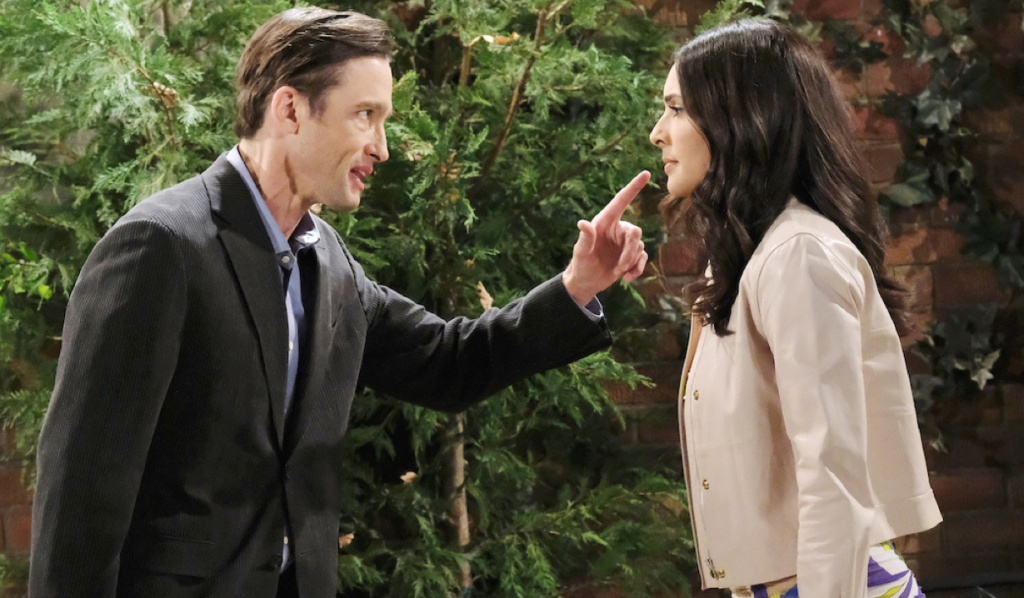 Philip scowls at Gabi while pointing his finger while outside on Days of Our Lives