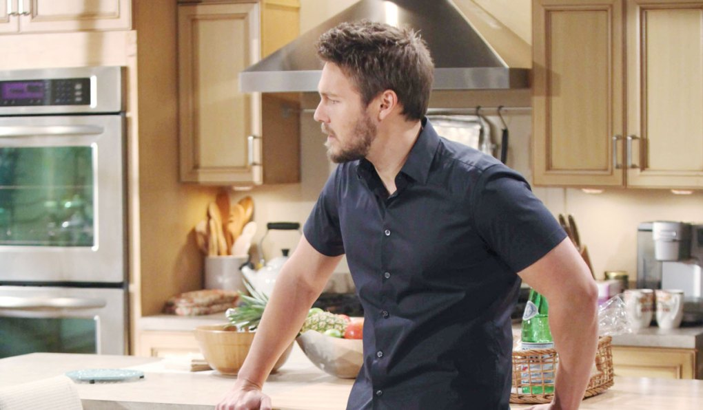 liam stands in brooke's kitchen